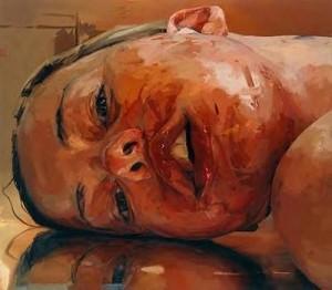 A very different self portrait by Jenny Saville.