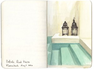 Lisa Hebden ~ Riad Kaiss Pool Sketch