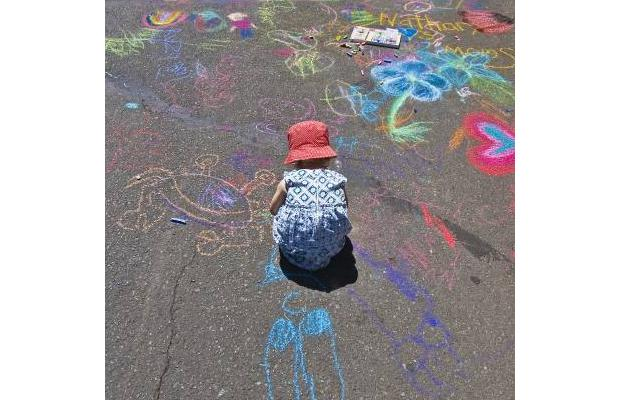Child at Moss Street Paint-In, by Debra Brash, Times Colonist