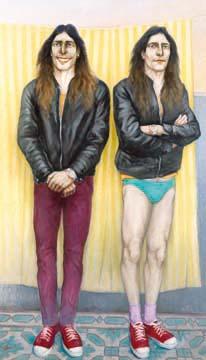 Dos hombres de pie con zapatillas rojas, by Ricardo Garabito